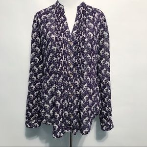 Anthropologie Maeve Monkey Print Pintuck Blouse